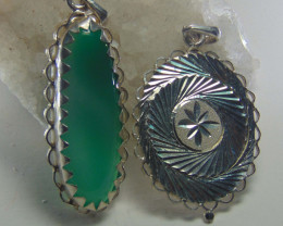 Agate pendent ~ antique stone~ fantasy silver designs 56.20cts