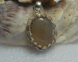 Agate pendent ~ antique stone~ fantasy silver designs 27.45cts