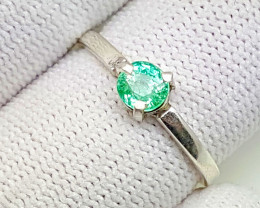 Natural Emerald 925 Silver Ring.