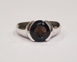 Smokey Quartz 925 Sterling silver unisex ring #320