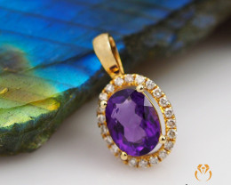 14 K Yellow Gold Amethyst & Diamond Pendant A P8886 3250