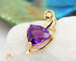 14 K Yellow Gold Amethyst Pendant A P11370 1000