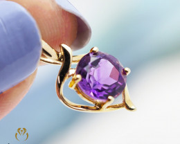 14 K Yellow Gold Amethyst Pendant A P11436 1300