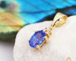 Stylish 14 K Yellow Gold Tanzanite & Diamond Pendant A P9798 2100