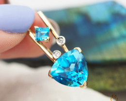 14 K Yellow Gold Blue Topaz & Diamond Pendant A P4991 3550