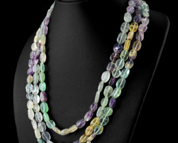 Multicolor Fluorite 3 Lines Beads Necklace