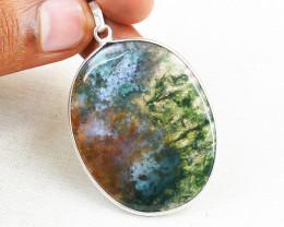 Multicolor Moss Agate Oval Shape Pendant