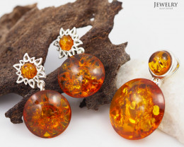 Pendant n Earring Baltic Amber Sale, Silver , direct from Poland  AM 377