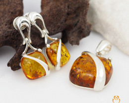 Pendant n Earring Baltic Amber Sale, Silver , direct from Poland  AM 378