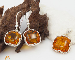 Pendant n Earring Baltic Amber Sale, Silver , direct from Poland  AM379