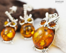 Owl Pendant n Earring Baltic Amber Sale, Silver , direct from Poland  AM 38