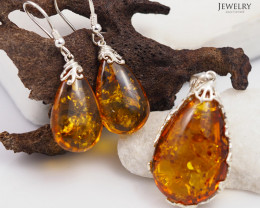 Pendant n Earring Baltic Amber Sale, Silver , direct from Poland  AM 384