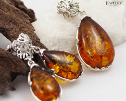 Pendant n Earring Baltic Amber Sale, Silver , direct from Poland  AM 385