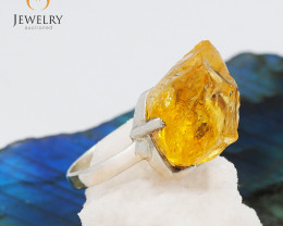 Virgin Citrine   Rough in Silver Ring size 8.5 JGG 122