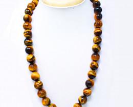 Golden Tiger Eye Round Shape Beads Necklace
