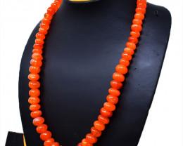 Orange Carnelian Beads Single Strand Necklace