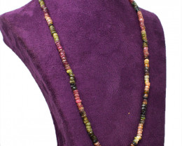 Watermelon Tourmaline Faceted Beads 20 Inches Long Necklace