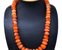 Flower Carved Carnelian Beads Necklace