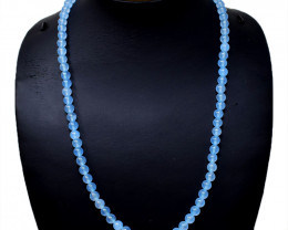 Blue Chalcedony Round Beads Necklace
