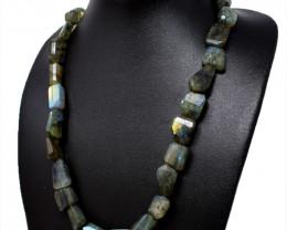Amazing Flash Labradorite Tumble Cut Beads Necklace