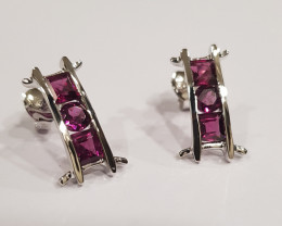 Rhodolite Garnet 925 Sterling silver earrings #33411