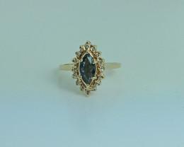 18kt Gold Natural Blue Sapphire & Diamond Ring