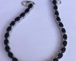 Black spinel 925 Sterling silver bracelet #33058