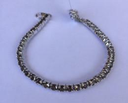 Smokey quartz 925 Sterling silver bracelet #33074