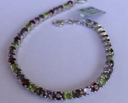 Mixed Gem 925 Sterling silver bracelet #33074