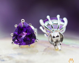 14 K White Gold Amethyst Earrings A E10857 1600