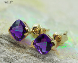 14 K Yellow Gold Amethyst Earrings A E3886 1700
