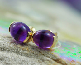 14 K Yellow Gold Amethyst Earrings A E737 1350