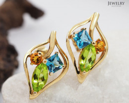 18 K Yellow Gold Multi-Gems Earrings A E6907 4400