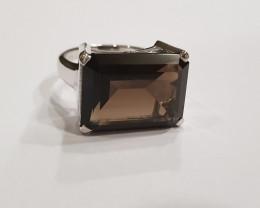 Smokey Quartz 925 Sterling silver ring #327