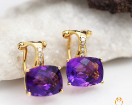 14 K Yellow Gold Amethyst & Diamond Earrings A E9055 3450