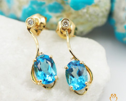 18 K Yellow Gold Blue Topaz & Diamond Earrings A E11393 2800