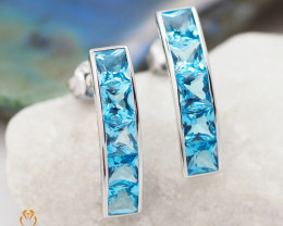 18 K White Gold Blue Topaz Earrings A E255 3550
