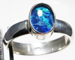 Triplet opal set in Silver Ring Size 5 PL 1216