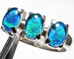 Triplet opal 3pc Cluster set in Silver Ring Size 8 PL 1246