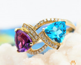 Gold Multi Stone  Gemstone Rings