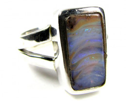 SOLID BOULDER OPAL SILVER RING SIZE 6.5 CJ 1556