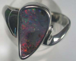 BEAUTIFUL RED BOULDER OPAL SILVER RING SIZE 7.5 L2763