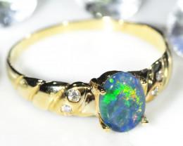 DIAMOND & TRIPLET OPAL RING SIZE 6.5 14 K GOLD CK 401
