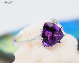14 K White Gold Amethyst Ring size 7 A R10857 2450