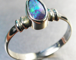 BLACK OPAL RING SIZE 7 18 K WHITE GOLD CK 255