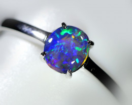 Bright Black crystal Opal in 10 k white Gold WS734