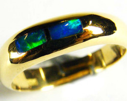 BRIGHT OPAL INLAY GOLD RING SIZE 7 SCO601