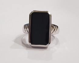 Black onyx 925 Sterling silver ring #9521