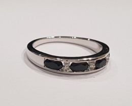 Black spinel 925 Sterling silver ring #512