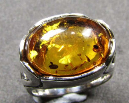 OVAL SHAPE BALTI AMBER IN SILVER RING SIZE 8 MYG 662